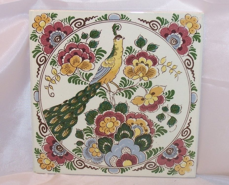 Image 0 of Ceramic Tile Delft Peacock Trivet, Hand Painted, Holland