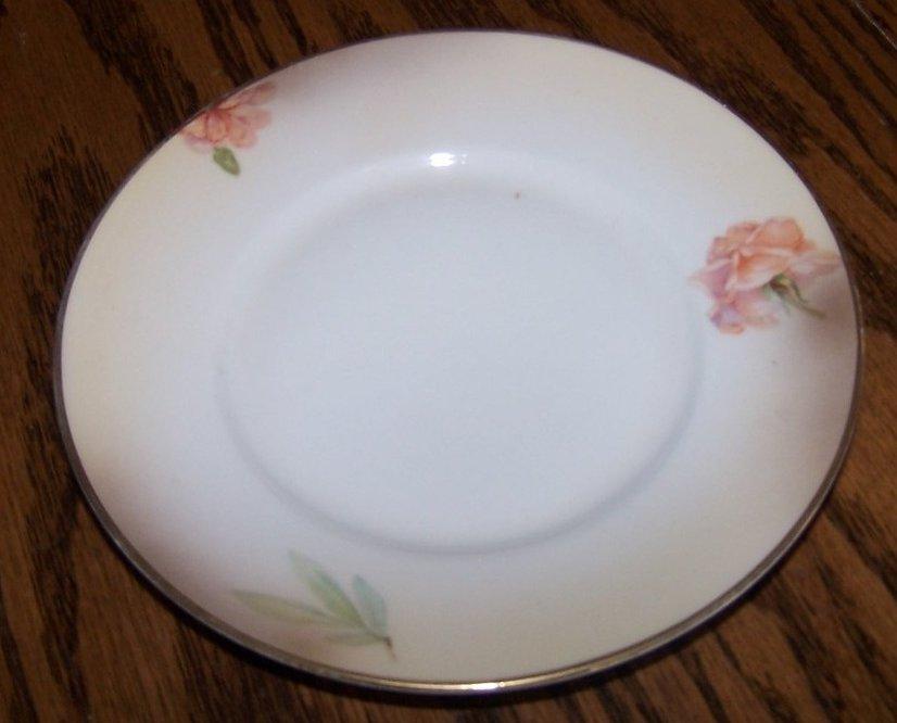 Image 0 of Royal Rudolstadt Pink Rose, Brown Edge Bread, Dessert Plate