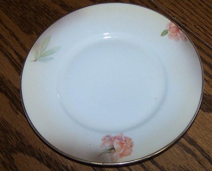Image 1 of Royal Rudolstadt Pink Rose, Brown Edge Bread, Dessert Plate