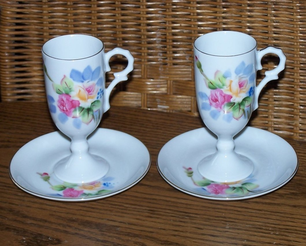 Delicate Tea Cup and Saucer Set, Pink and Cream Roses