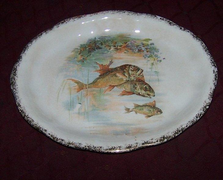 Strange Fish Oval Plate, Transfer Ware Transferware, Eureka
