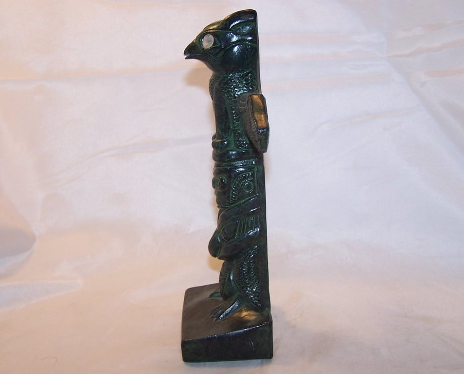 Four figure totem pole greg wolf hand crafted canada