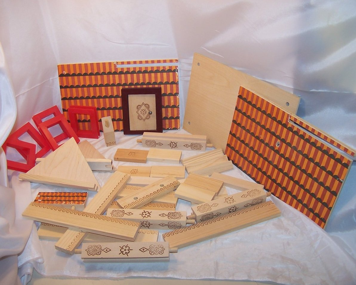 Russian Building Block Set, 30 plus Pieces, Wood and Plastic