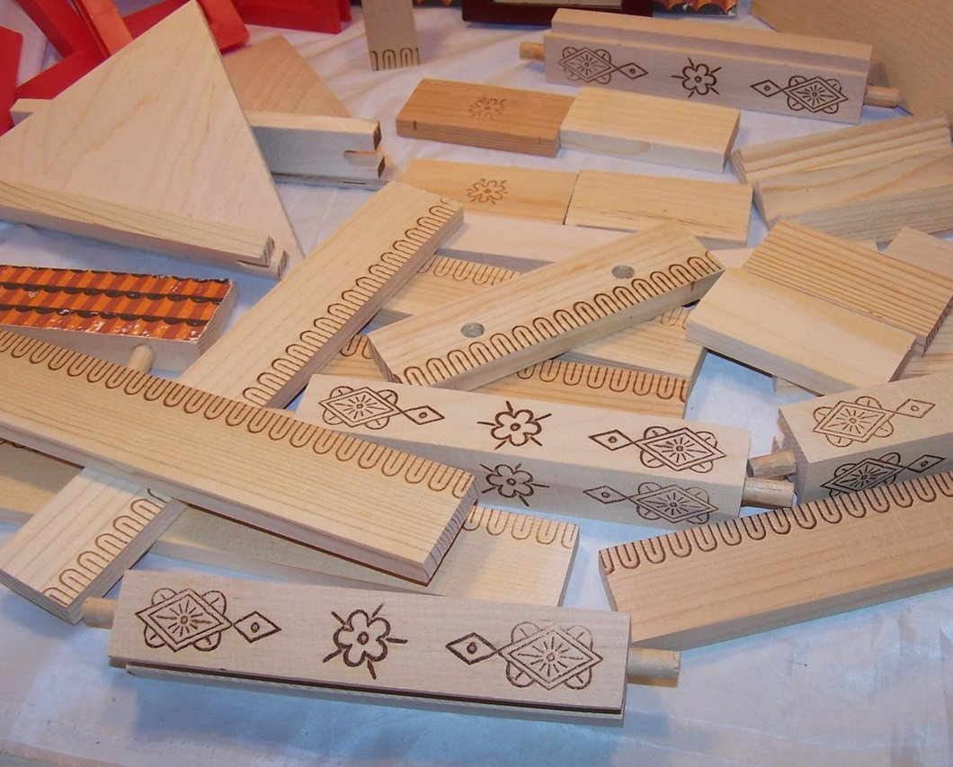 Image 3 of Russian Building Block Set, 30 plus Pieces, Wood and Plastic