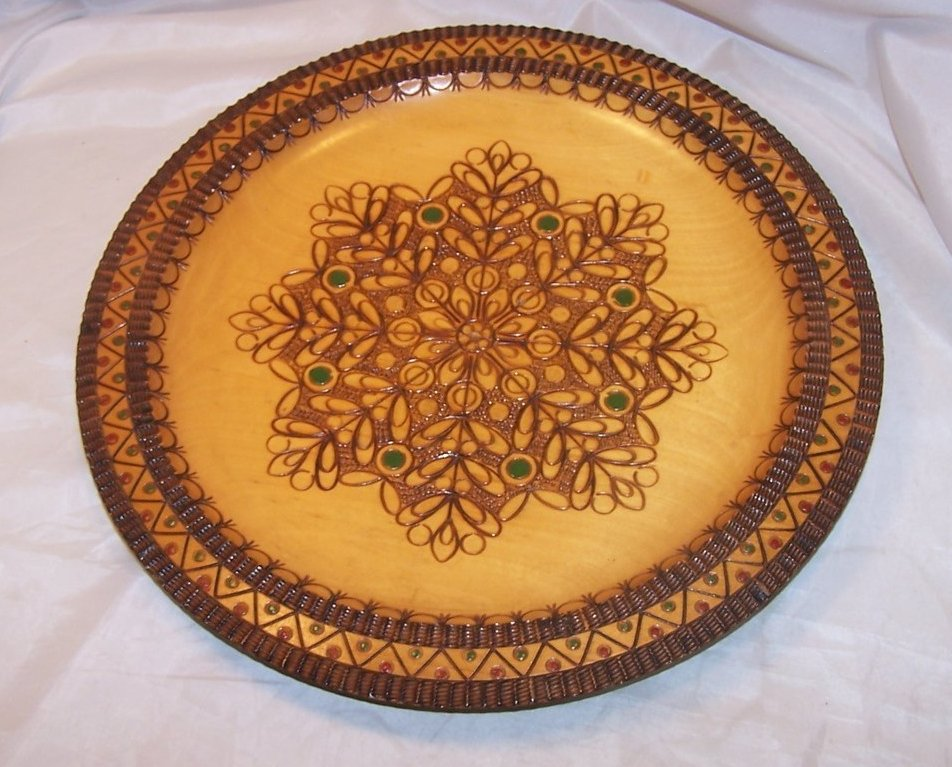 Pyrography Platter, Poland, Woodburned