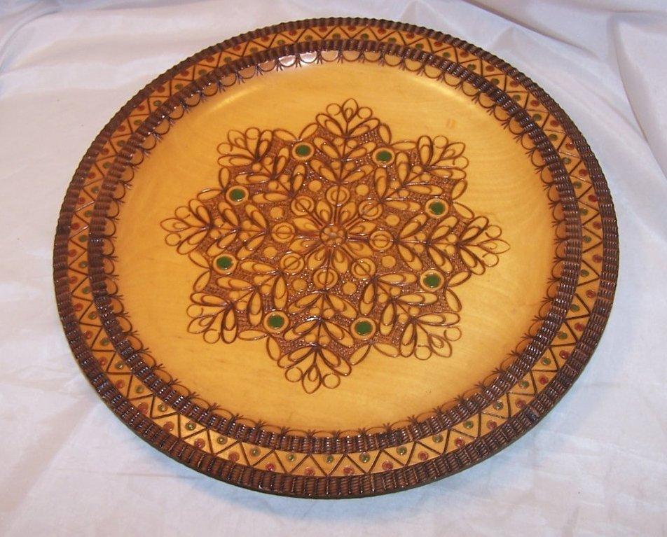 Pyrography Platter, Poland, Woodburned