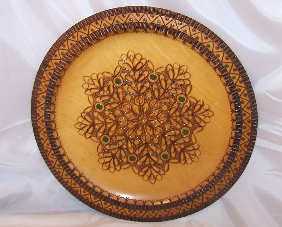 Image 1 of Pyrography Platter, Poland, Woodburned