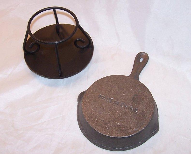 Cast Iron Skillet Tart And Oil Warmer W Stand Tea Light