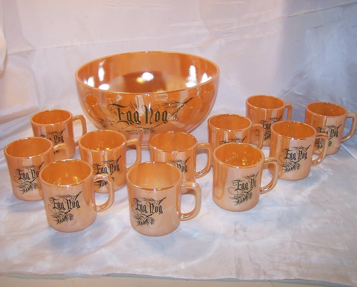 Egg Nog Punch Bowl, Mugs, Peach Lustre, Fire King