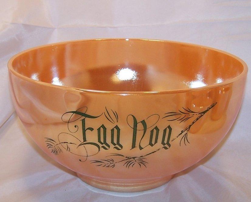 Image 1 of Egg Nog Punch Bowl, Mugs, Peach Lustre, Fire King