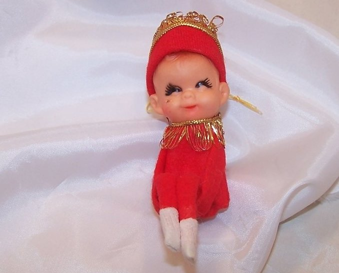 Christmas Winking Shelf Elf, Red w Gold, Japan
