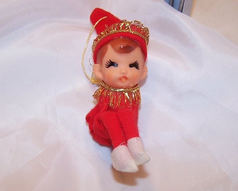 Christmas Shelf Elf, Red w Gold, Ornament, Japan