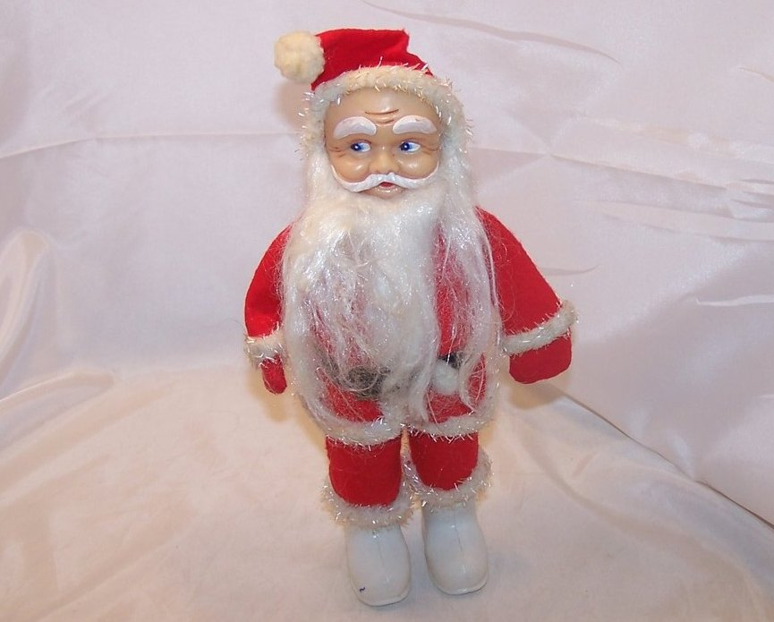 Santa Claus Doll, Figure w Long Beard, White Boots, Vintage