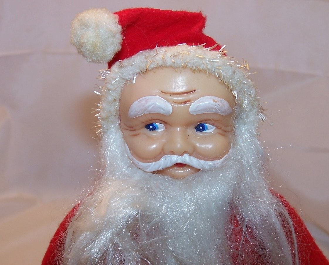 Image 1 of Santa Claus Doll, Figure w Long Beard, White Boots, Vintage