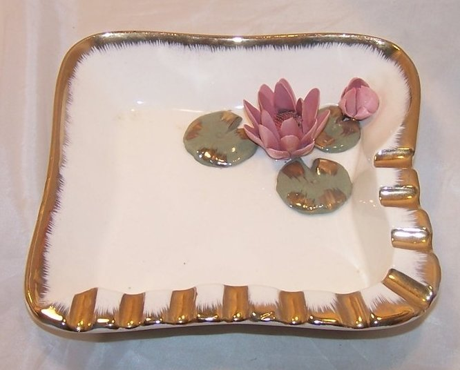 Image 1 of Water Lily Ashtray w Bright Gold Accents, Pink Flowers