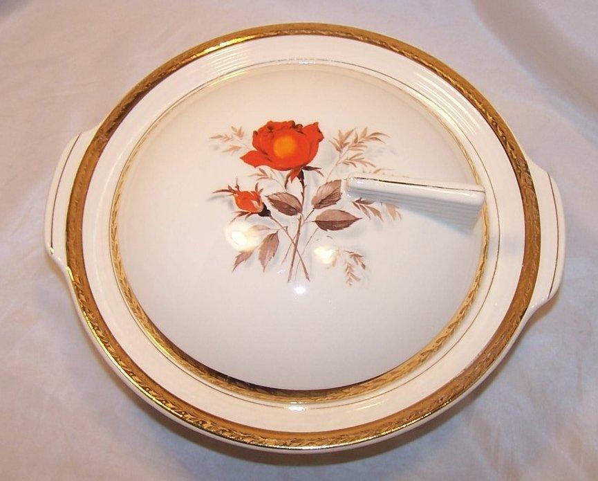 Vermillion Rose American Limoges Vegetable Bowl, Vintage
