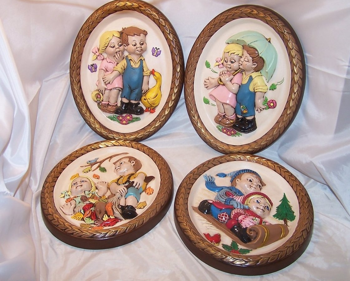 Image 0 of Leisuramics Four Season Set 3D Molded Picture, Children 1973