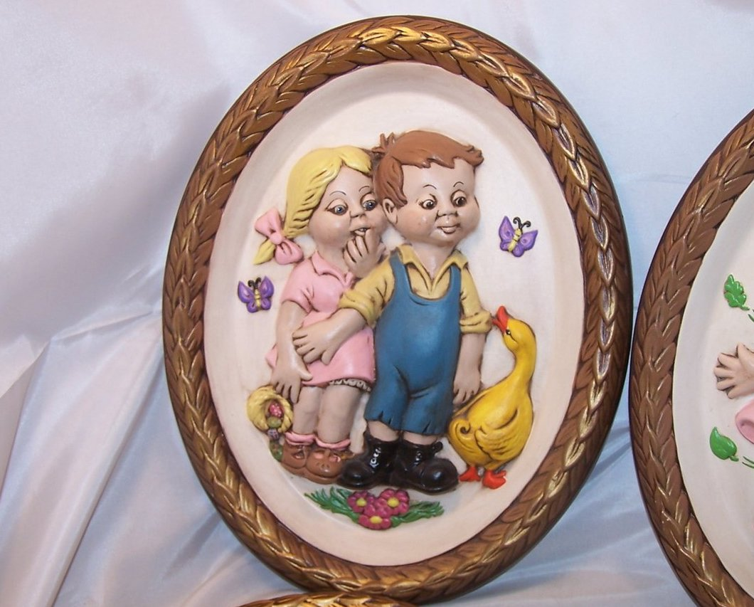 Image 1 of Leisuramics Four Season Set 3D Molded Picture, Children 1973