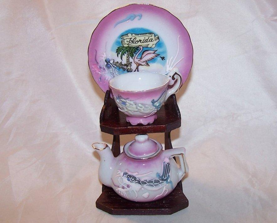 Dragonware Teacup, Saucer, and Teapot, Florida Souvenir