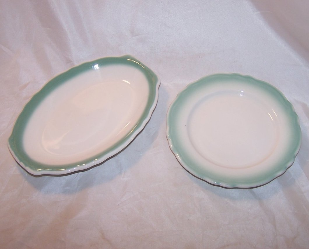 Homer Laughlin Best China, Two Small Green Rimmed Rim Plates