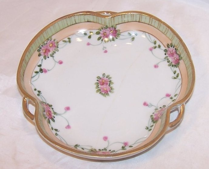 Pink, Gold, Green Imperial Nippon Raised Star Serving Dish