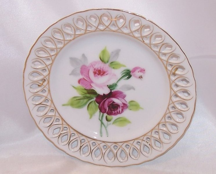 Pink Red Rose Pierced Cutout Decorative Plate Occupied Japan