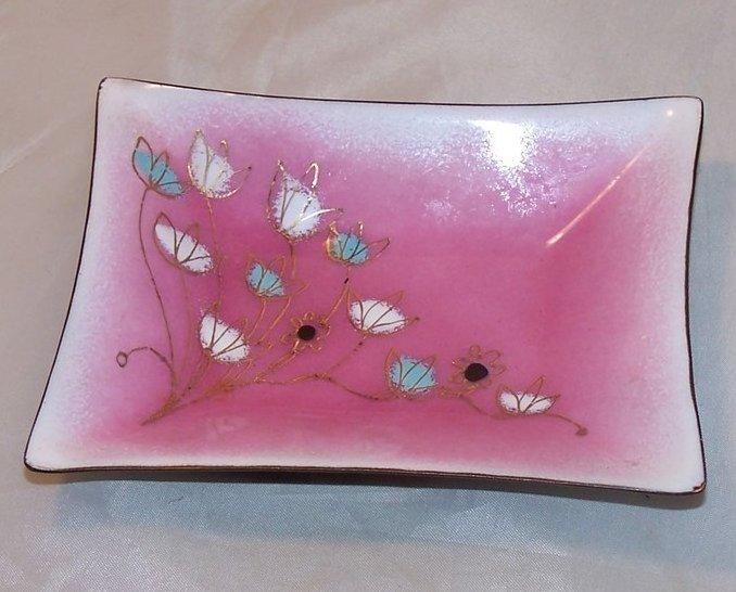 Gerte Hacker Pink w Flowers Enamel Clad Copper Dish