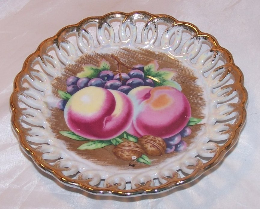 Basketweave Plate with Fruit Center, Royal Sealy China