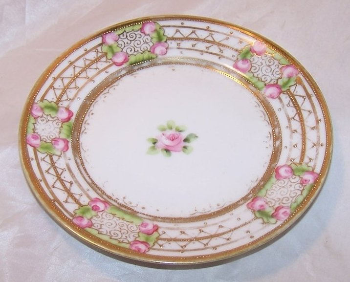 Image 0 of Gold Beaded, Pink Rose Plate, Hand Painted Nippon