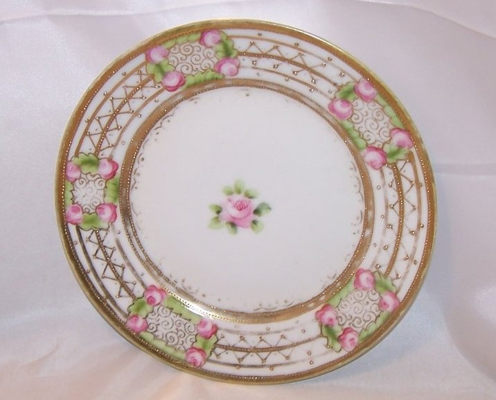 Image 1 of Gold Beaded, Pink Rose Plate, Hand Painted Nippon