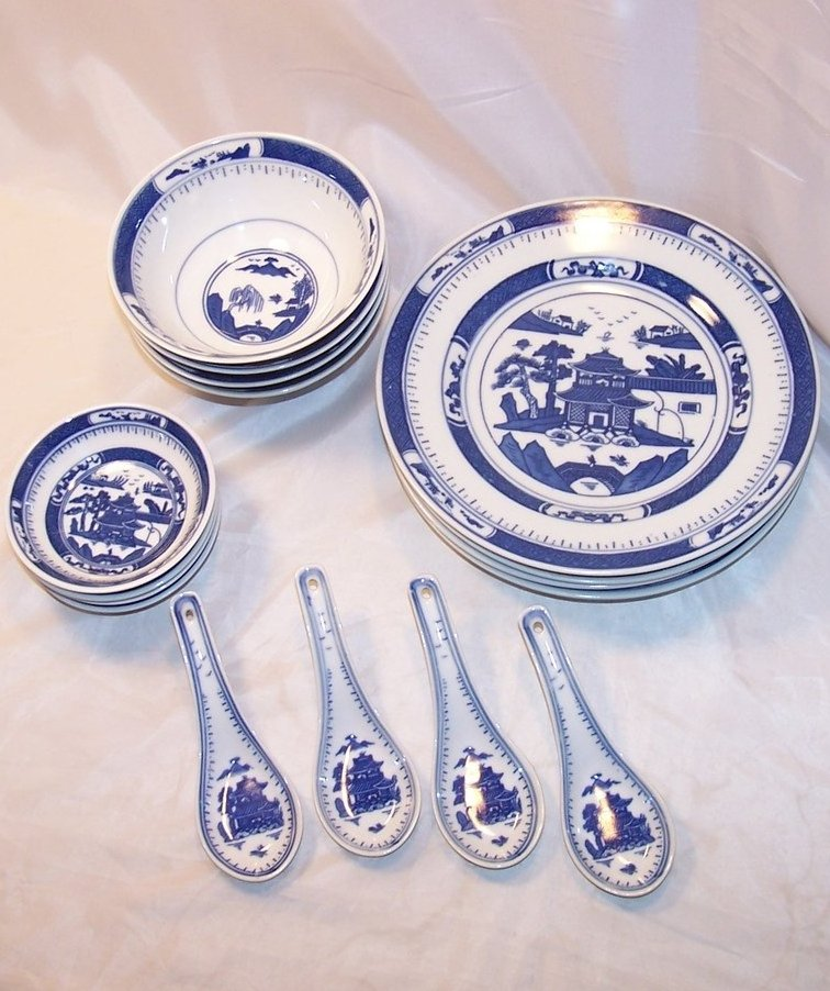 Image 0 of Chinese Dish Set w Spoons, Blue White Porcelain, China