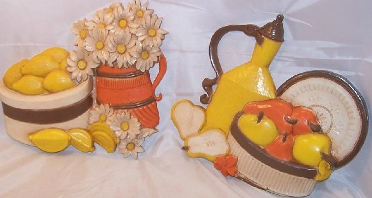 Image 0 of Fruit and Flowers Syroco Picture Set, Lemons Pears Daisies