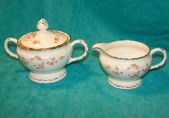 Creamer Sugar Bowl, Florence Pope Gosser Pink Rose Garland