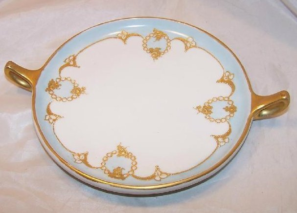GDA France, Blue Plate with Roses, Gold and White Bead