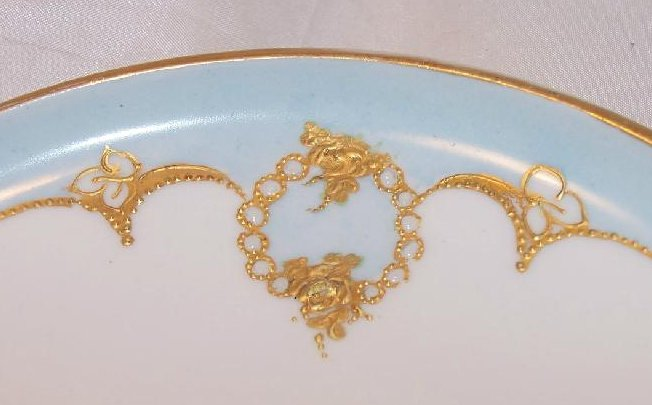 Image 1 of GDA France, Blue Plate with Roses, Gold and White Bead