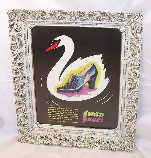 Swan Shoes Vintage England Magazine Ad Framed Authentic