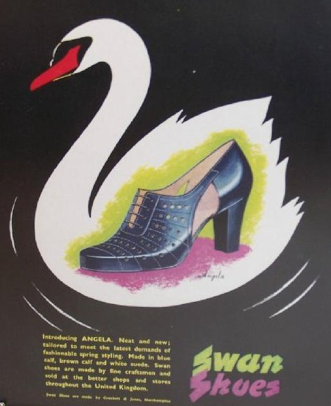 Image 1 of Swan Shoes Vintage England Magazine Ad Framed Authentic