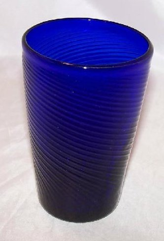 Cobalt Blue Handblown Glass Cup, Tumbler w Tight Swirl