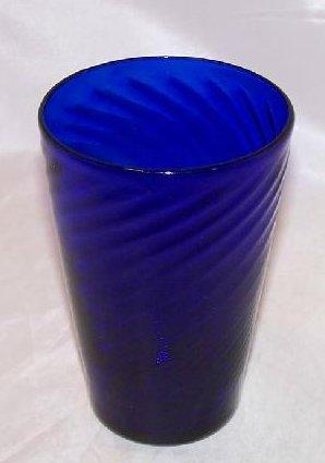 Cobalt Blue Handblown Glass Cup, Tumbler w Gentle Swirl