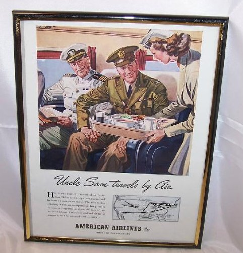 American Airlines, Military Vintage Print Ad Authentic