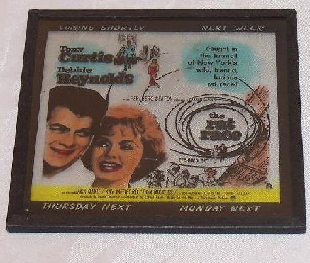 The Rat Race Movie Ad Glass Slide, Curtis, Reynolds, 1960