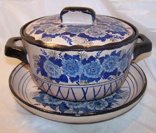 Soup Bowl w Lid, Serving Plate, Blue Flowers, Vintage GVH