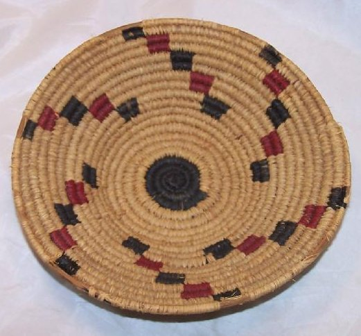 Image 0 of Apache Indian Hand Woven Sweet Grass Basket American Vintage