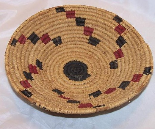 Image 1 of Apache Indian Hand Woven Sweet Grass Basket American Vintage