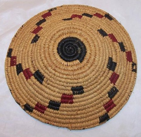 Image 2 of Apache Indian Hand Woven Sweet Grass Basket American Vintage