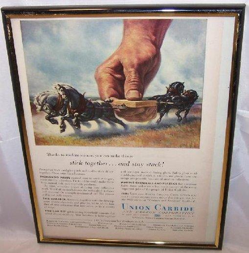 Union Carbide Glue Vintage Print Ad Authentic, 1955