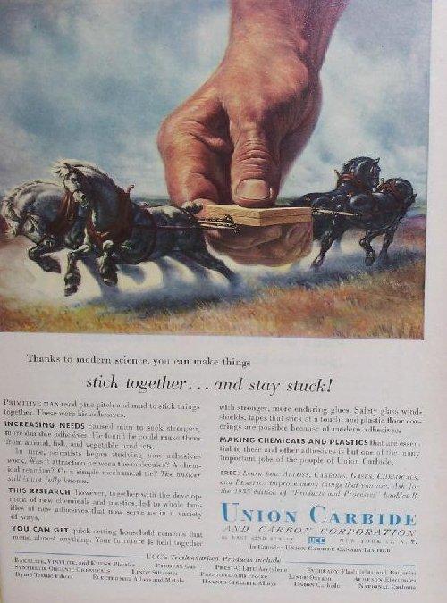 Image 3 of Union Carbide Glue Vintage Print Ad Authentic, 1955