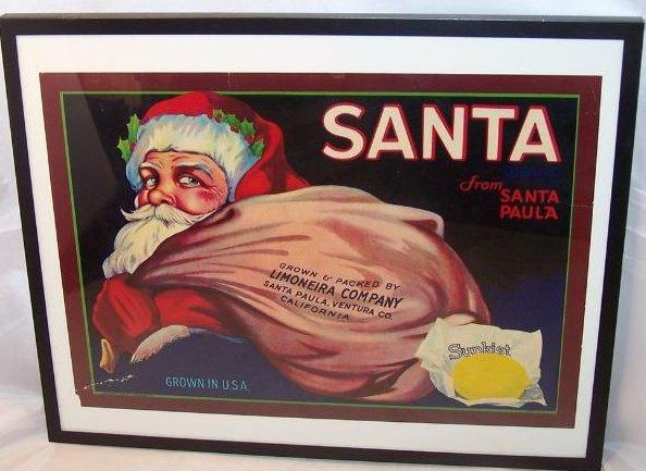 Sunkist Lemon Santa Vintage Print Display Ad Authentic, 1928