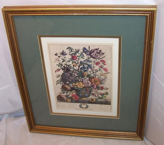 Spring Bouquet, Victorian Reproduction Lithograph, Framed
