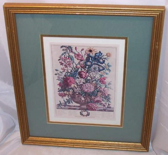 Summer Bouquet, Victorian Reproduction Lithograph, Framed